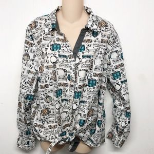 Style & Co. Travel Suitcase Print Tie Front Shirt